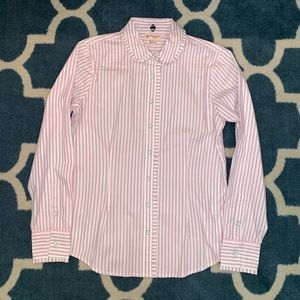 Brooks Brothers button up pink striped shirt